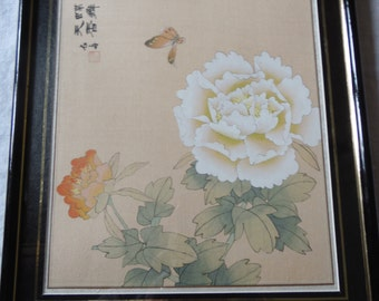 Chinese silk painting signed by artist frame professional, pastel, China, butterfly and flowers, 70's / 80's, chinese silk paint
