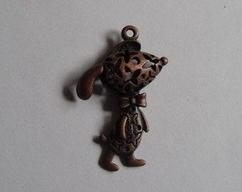 1 Copper 3D Dog Jewellery Pendant 44x28mm
