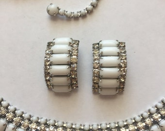 Vintage White Milk Glass and Rhinestone Necklace and Clip Earrings KRAMER