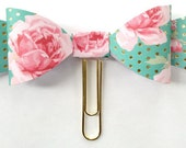 Planner Paper clips in Adorable Floral Pink, Mint, and Gold Polka Dot,Planner Accessories,Planner Paperclips collection