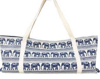 Handmade Blue Royal Elephant Canvas Yoga Mat Tote,Pilates Bag Yoga Mat Bag