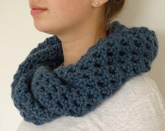Dark Blue Crochet Infinity Scarf Cowl