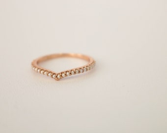 Pearl Wedding Band, Rose Gold and Pearl Wedding Band, Vintage Wedding Ring
