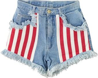 Vintage Womens 0 to 2 High Waist Fringed Denim Shorts Side Panels Grunge Trashed