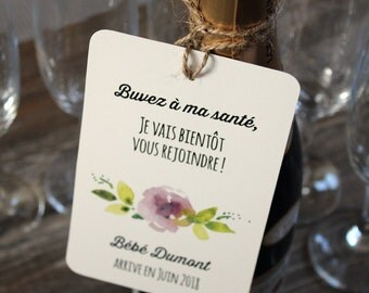 Bottle label Announces pregnancy original personalized with your family name or names drawing watercolor flowers ad