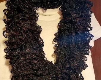 Customizable ruffled infinity scarf in metallic black!
