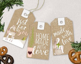 Homemade Holiday Gift Tags, Christmas Cookie Labels, Instant Download, Printable Digital File PDF, Treat Tags, Kraftpaper
