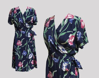1940s Floral Rayon Wrap Dress