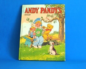 Andy Pandy's Annual Hardcover Book - 1974 Vintage Story Book - Colouring Craft BBC TV Show Television Series - Made in Great Britain