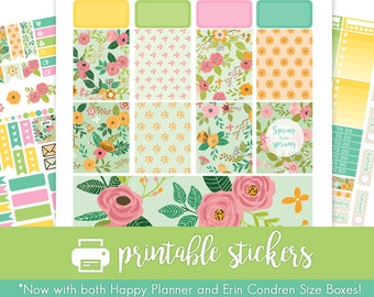 Printable Planner Stickers Spring Flowers Weekly Kit for March / April / May ! For use with Erin Condren/Happy Planner