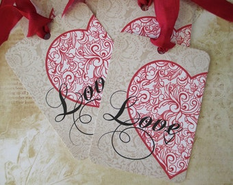 Valentine Tags-Love with a Flourish-Set of 6