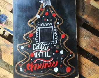 days until christmas chalkboard sign, christmas countdown sign