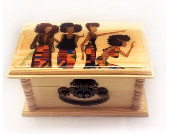 Afrocentric, box, Keepsake, Wood Box, girl gifts, unique gift, wood,  homedecor, gift, art, decor, trinket box,  jewelry Box, birthday Gift,