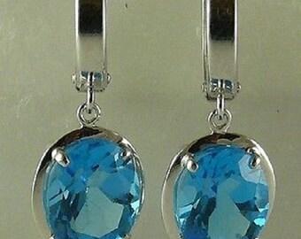 Blue Topaz 6.2ct Earring 14k White Gold