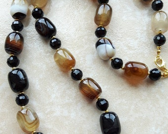 Brown agate necklace with Black Onyx