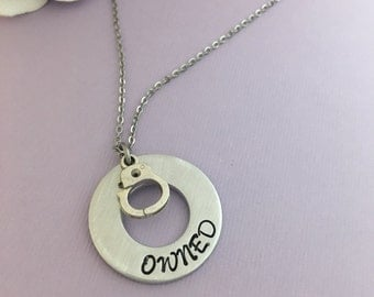 Owned Handcuff Necklace, Owned Necklace, BDSM Necklace, Customs Welcome, Owned BY, Boss, Daddy, Submissive Jewelry, Submissive Necklace Your