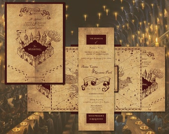 harry potter marauders map inspired wedding invitation invitations rsvp and envelope - Harry Potter Wedding Invitations