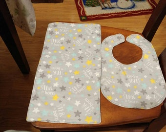 A star is born bib and burp cloth set.