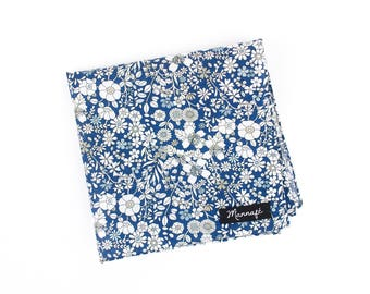 "Pocket square, handkerchief pocket in Liberty ""June's meadow navy"", accessory man, marriage"