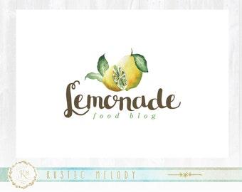 Lemon Garden Logo, Lemon Design, Food Logo, Fruit Logo, Artisan Logo, Watercolor Logo,Lemon Logo