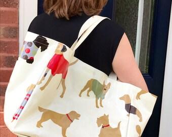 Dog Owner Bag - Oilcloth Tote Bag - Tote Bag - Dog Owner Gift - Shopping Bag - Bag for Life - Market Bag - Beach Bag - Oilcloth Bag - Bag