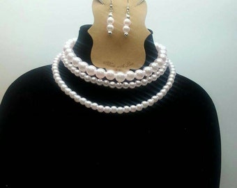 Pink Three Layer Faux Pearl Necklace Set - Altering Lengths/Colors