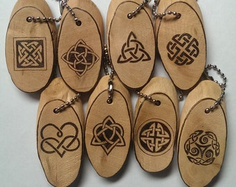 Wooden Celtic Knot Keychain