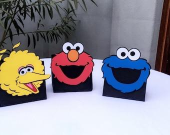 Sesame Street/ Elmo/ Cookie Monster/ Big Bird centerpiece/ balloon holder/ utensil holder