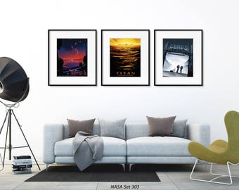 NASA Poster Wall Art, Space Artwork, Set of 3 Space Prints, Space Poster Art, Outerspace Decor