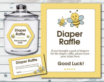 Bumble Bee Baby Shower Diaper Raffle Ticket And Diaper Raffle Sign, Printable Bumble Bee Diaper Cards And Sign, Bee Baby Shower Games