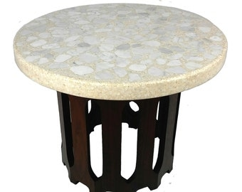 Vintage Mid Century Modern Harvey Probber Terrazzo and Walnut Side End Table
