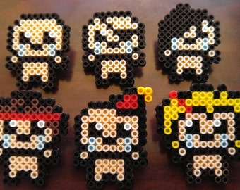 Mini Perler Binding of Isaac Character Pins