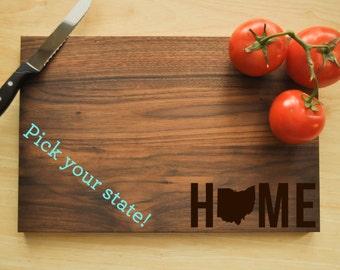 Personalized Cutting Board, Custom Cutting Board, Personalized Wedding Gift, Housewarming Gift, Home Cutting Board, State Cutting Board