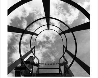 London Photography, Wall Art, Art Print, Home Decor, Wall Decor, Sky Photography, Clouds, Black And White, Abstract Art, Monochrome, Ladder