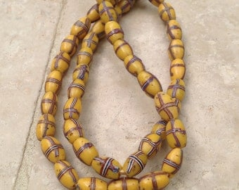 Authentic Loose Old Yellow French Cross Trade Beads
