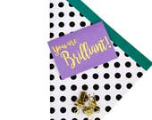 You Are Brilliant Gold Foil Mini Card, Inherently Optimistic, Greeting Card