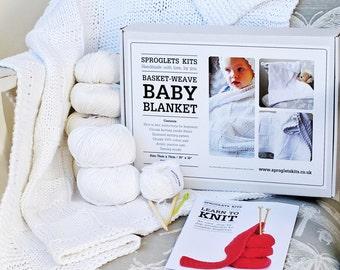 Learn to Knit Baby Blanket Kit / Beginner knitting kit / Baby knitting kit / Chunky cotton baby blanket / Waffle blanket / Baby shower gift