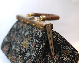 Vintage 50s and 60s handbag in floral tapestry