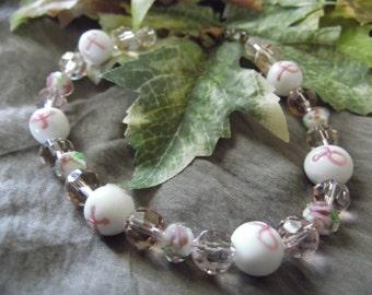 Handmade Pink Ribbon Beaded Bracelet 9 Inches