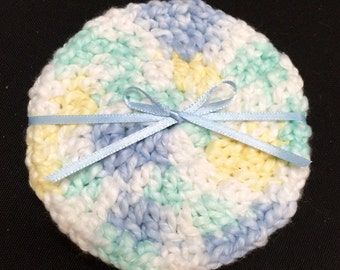 Crocheted Baby Wipes Set of 4, Cleansing Wipes, Baby Scrubbies, Cotton Scrubbies