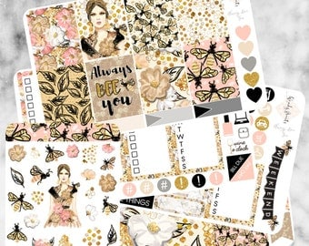 W175 Always Bee You ECLP VERTICAL Weekly Kit, Planner Stickers, Erin Condren, Spring Stickers, Bee Stickers, Glam Stickers, Floral, Gold