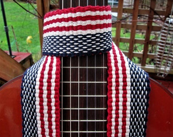 "Hand Woven Guitar Strap, Banjo Strap, ""American Flag"" , Handmade Leather Ends, Free Leather Headstock Strap Holder or Banjo Strap Adapters"