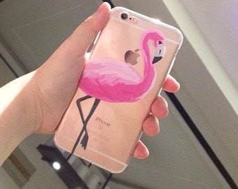 Pink flamingo Clear Phone Case for iPhone