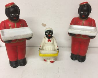 Vintage Black Bellhops & Maid - Porcelain Figures