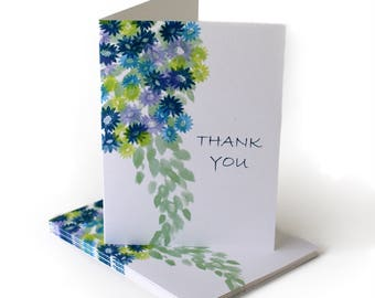 Watercolor Flowers Thank You Greeting Card
