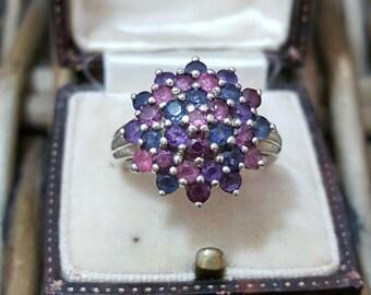 Vintage sterling silver cluster ring, amethyst, iolite, pink tourmaline, size o1/2