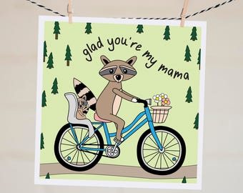 Glad You're My Mama Card  | Mother's Day Card Funny | Funny Card for Mum | Love You Mom Card | Vintage Bike | Card for Wife | Card for Mom