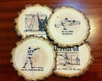 Red Sox Greatest Moments Illustrated Handcrafted Natural Wood Slice Coaster Set of 4