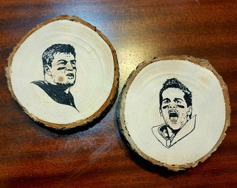 Tom Brady and Gronk Handcrafted Natural Wood Slice Coaster Set of 2