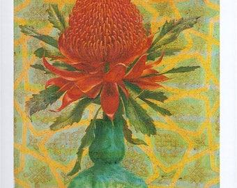 "Vintage 1960s Book Plate Print Australian Impressionist Lucien Henry ""Waratah"" Large Red Flower c 1870 Wall Art"